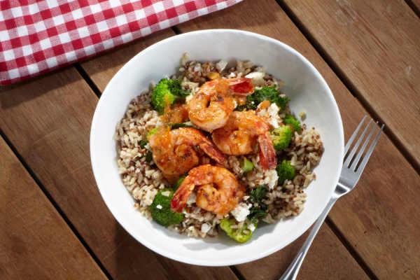 Next is our newest offering on the menu: the Passionfruit Citrus Shrimp Bowl. Juicy grilled shrimp