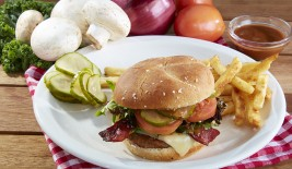Sirloin Burger w Turkey Bacon and White Cheddar